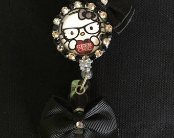 Hello Kitty Retractable I.D. Badge Holder with black accect bows!