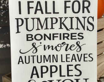 I Fall | Pumpkins| Fall Sign | Pumpkins | Love | Handpainted | Home Decor |