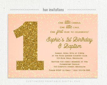girls baptism 1st birthday invitation, peach coral gold glitter, customized girls baptism first birthday party invitation printable digital