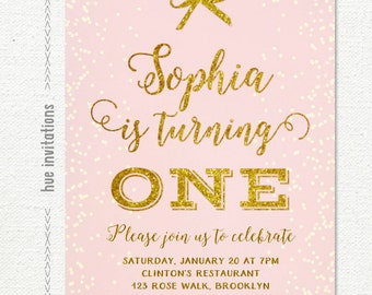 pink and gold first birthday invitation, girls 1st birthday invite, girly pastel pink gold glitter and bow, digital file n74