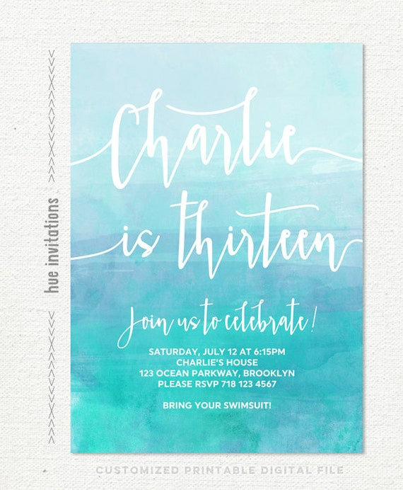 For Girls 13th Birthday Invitations Printable Invitation Girl Blue Teal Watercolor Ombre