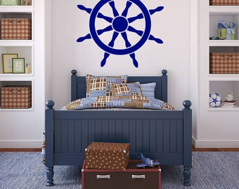 Wall Decal, Ship's Wheel, Ship's Helm, Nautical Decal, Nautical Stickers, Oceanic Decal, Bedroom Wall Sticker, Wall Stickers, Naval Decal