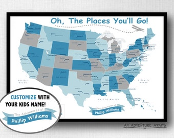 Usa Travel Map Etsy - Childrens us pushpin map