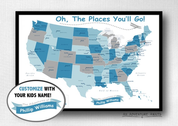 Childrens USA Travel Map Print Only Oh The Places - Usa travel map with pins