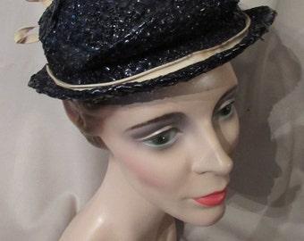 LAST CALL! Mid Century Hat Navy Hat Cellophane Woven Hat Milgrim Hat