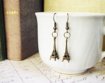 Antique Bronze Eiffel Tower Earrings Dangle Earrings French Romance Earrings Spring Accessories