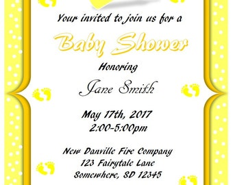 Printable Yellow w/Polka Dots Baby Shower Invitations