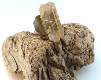 Handmade Stone Ring, Healing, Crystal, Boho, Energy, Power, Tribal, Bling, Brass, Sexy, Bold, Celebrity (Captured Strength Ring)