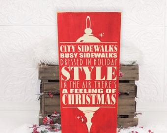 "City Sidewalks (Silver Bells) Christmas Vinyl Wooden Sign 12"" x 24"". Christmas decor, Christmas signs, Silver Bells carol, carol sign"