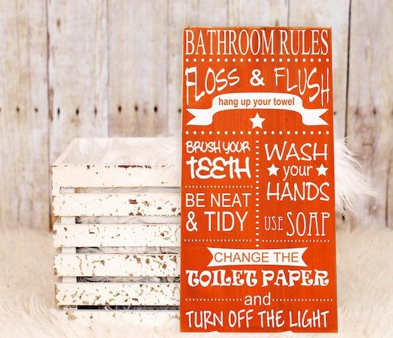 Bathroom rules wall decor subway art vinyl by hdvinyldesigns for Bathroom decor rules