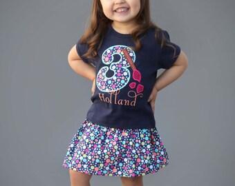Girl Artist Birthday Shirt with Paintbrush Number and Polka Dot Skirt