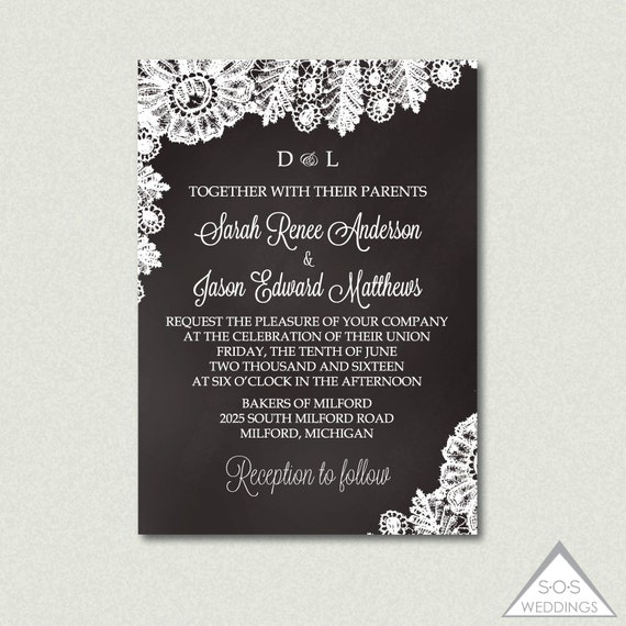 Chalkboard and lace wedding invitation printable wedding il570xn stopboris Image collections