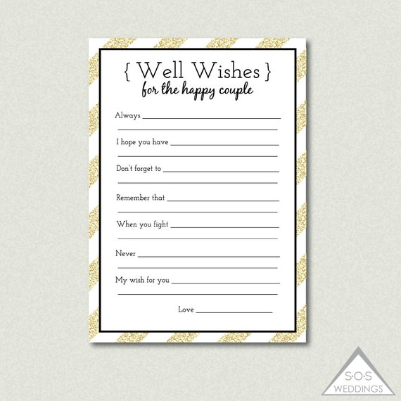 Printable Well Wishes Bridal Shower Game Advice For By