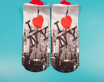 "Pompom socks ""I Love New York"" Print Picture, Large Red Pompoms, 1 pair -Shoe sz. 4-10 in tweens, teens, and adults; Sock sz. 9-11"
