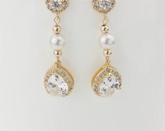 Bridal Earrings, Wedding Earrings, Rhinestone Earrings - Sabrina