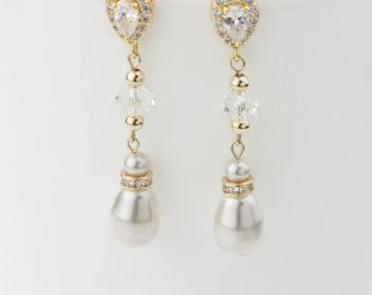 Bridal Earrings, Wedding Earrings, Rhinestone Earrings - Stella
