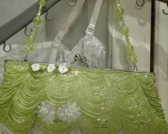 Evening bag clutch Bag green Shabby chic Ceremony