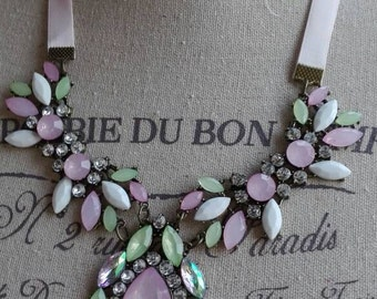 Necklace with pink crystals chic shabby chic wedding romantic wedding