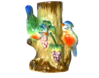 Vintage Sculptural Porcelain Vase with Two Colorful Birds Perched on a Tree Trunk