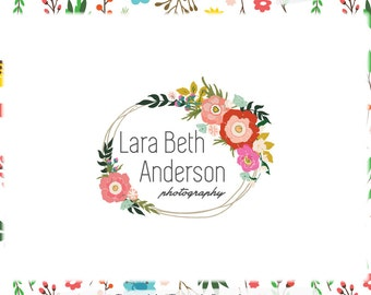 Floral Wreath Premade Logo Design - Web and Print - Limited Edition! Perfect For Photographer, Boutique, Handmade, Clothing, Floral Stylist