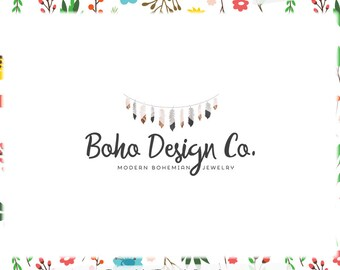 Feather Bunting Premade Logo Design - Web and Print - Limited Edition! Perfect For Photographer, Boutique, Handmade, Jewelry Designer + more