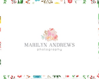 Watercolor Floral Premade Logo Design - Web and Print Files - Limited Edition! Perfect For Photographer, Boutique, Designer, Stylist & more