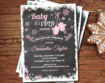 Baby it's cold outside baby girl shower invitation. Winter baby shower invitation. Pink snowflake mitten chalkboard. Digital invite. X016