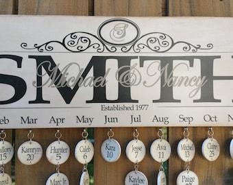 Birthday Calendar, Family Birthday Board Calendar, Wood Family Calendar Board, Celebrations Board - Monogram First & Last Names Personalized