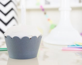 GRAY Cupcake Wrappers - Set of 24