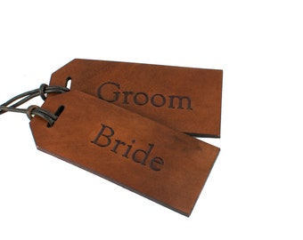 Engraved Bride Groom Luggage Tags, Label Bride Groom, Bride Groom Leather Label, Engraved Rustic Bride Label, Bride Luggage Tag, Groom Tag