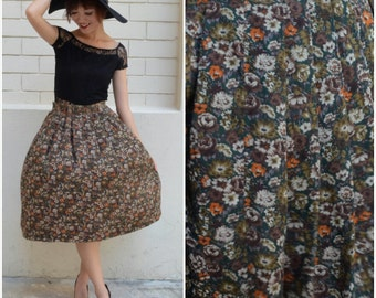 1970 Vintage Skirt/ Emerald Orcahrd Skirt/ Small Skirt/ Pleated Skirt/ Japanese Vintage/ Knee Length Skirt/ Floral Skirt/ Midi Chic Skirt