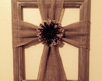 Wood frame burlap cross