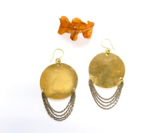 Mini Brass Disks Earrings Layered with Chain (E24)