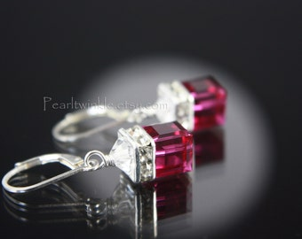 Fuchsia Crystal Earrings, Fuchsia Swarovski Earrings, Mother's Day, gift for her, under 30 USD, Pink Swarovski Crystal Earrings, Fuchsia