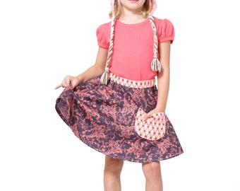 Twirly Skirt ~ Girls Twirl ~ Modest Length ~ Girls A-Line Skirt ~ Floral Skirt ~ Pocket Skirt ~ Waldorf ~ Midnight Gray and Rose Pink Floral