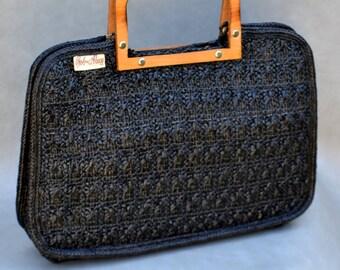 Vintage Handbag with Wooden Handle