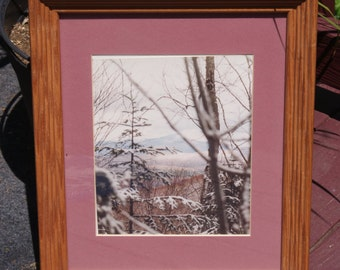 Pretty Winter Mountain Scene Photograph in Mounted Wood Frame