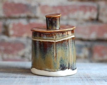 Rustic, Earthen Colored, Lidded Ceramic Jar