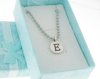 Antique Silver Plated Pewter Initial Charm Necklace.  Initial Necklace. Initial Charm. Initial Jewelry. Letter E Necklace.