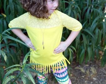 Southwest Textured Fringe Knit Top - size 5/6