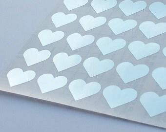 50 Metallic Silver Heart Stickers, Heart Planner Stickers, Heart Envelope Seal, Heart Party Stickers, Wedding Stickers, Birthday Stickers