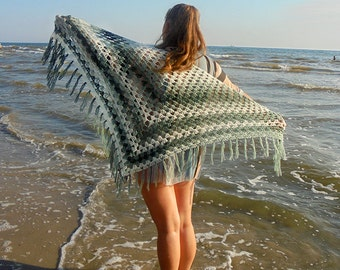 tie scarf green shawl neck wrap camo clothing beach accessory hip wrap gift idea/for/her mother gifts bridal shawl triangular scarf gift Ї24
