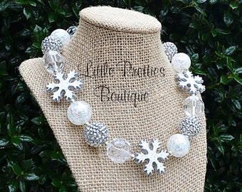 White & Silver Snowflake Bubblegum Necklace, Christmas, Chunky Necklace, Statement Necklace, Children's Necklace, Holiday, Chunky Bead, BN63