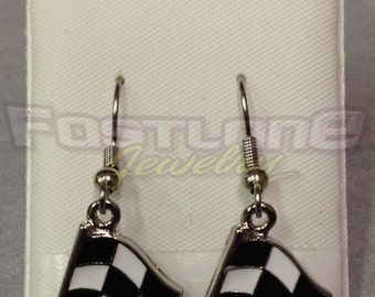 Checkered Flag Charm Dangle Earrings- Racing Jewelry by Fastlane Jewelry