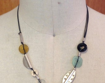 Necklace, adjustable,  Thai silver, glass, bone, onyx