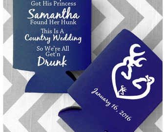 Buck and Doe Country Wedding Can Coolers - Free Shipping on all Custom Rustic Wedding Cozies (44)
