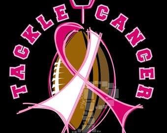 Tackle Cancer Football Design, Breast Cancer Awareness, Breast Cancer Ribbon, Breast Cancer Tackle Cancer Tee Design
