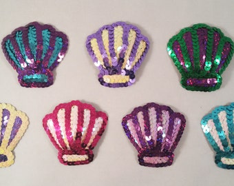 Sequin Covered Clam Shell Shaped Nipple Pasties. Mermaid Nipple Pasties. Various Colours.