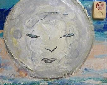 Sistah Moon, encaustic collage