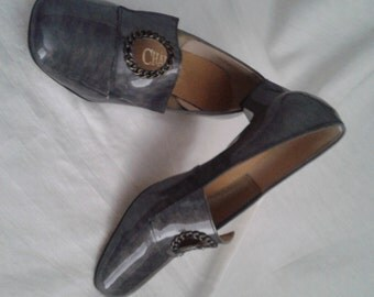 "MOD Vtg 60s/70s Shoes Sz. 8.5-9/Gray/Patent Leather/Square heel/""Charm Step"" Shoes/1960's Mad Men Style/1970's Peggy Olson/Hipster"